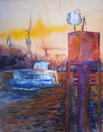 Hafenwächter (c) Aquarell von Frank Koebsch