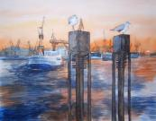 Wächter vor dem Hafen (c) Aquarell von Frank Koebsch