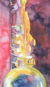 Jazz in red (c) ein Aquarell von Frank Koebsch