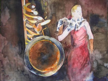 Queen of jazz - Aquarell von Frank Koebsch (c)