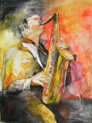 Saxophonist - Aquarell von Frank Koebsch (c)