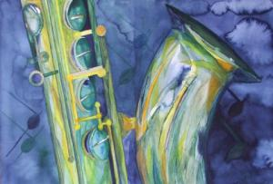 Saxophon 6 (c) Aquarell von Frank Koebsch
