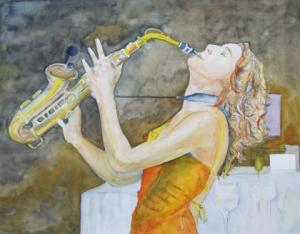 Goldener Swing - Aquarell von Frank Koebsch (c)