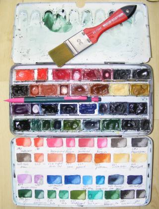 Farbkasten - gemischte Palette