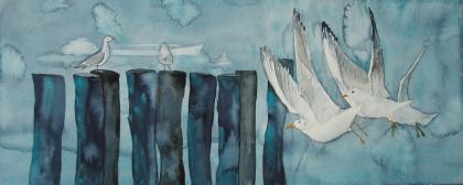 Möwenflug bei kaltem Wetter (c) Aquarell von FRank Koebsch