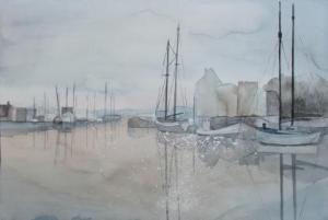 Morgenstimmung im Hafen 1 (c) Aquarell von Frank Koebsch