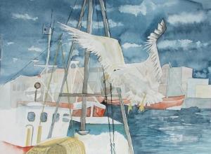 Begrüßung der Fischer (c) Aquarell von Frank Koebsch