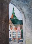 Blick auf den neuen Markt (c) Aquarell auf Leinwand von Frank Koebsch
