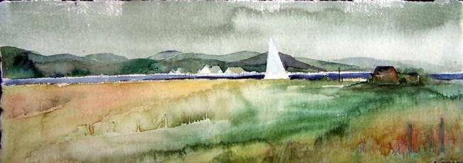 Blick vom Deich über den Bodden nach Gager (c) Aquarell von FRank Koebsch