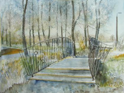 Brücke im winterlichen Park 1 (c) Aquarell von Frank Koebsch