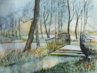 Brücke im winterlichen Park (c) Aquarell von Frank Koebsch