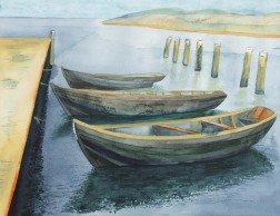 Die drei von der ... Kaikante (c) Aquarell von FRank Koebsch