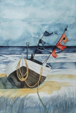 Die Fischer haben Feierabend (c) Aquarell von Frank Koebsch