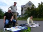 Andreas Mattern, Frank Hess und Frank Koebsch beim Malen in Rostock