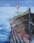 einsames Boot (c) Aquarell von Frank Koebsch