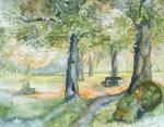 Herbst im Park (1) - Aquarell von Frank Koebsch (c)