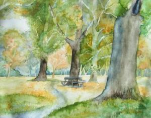Herbst im Park (c) Aquarell von Frank Koebsch