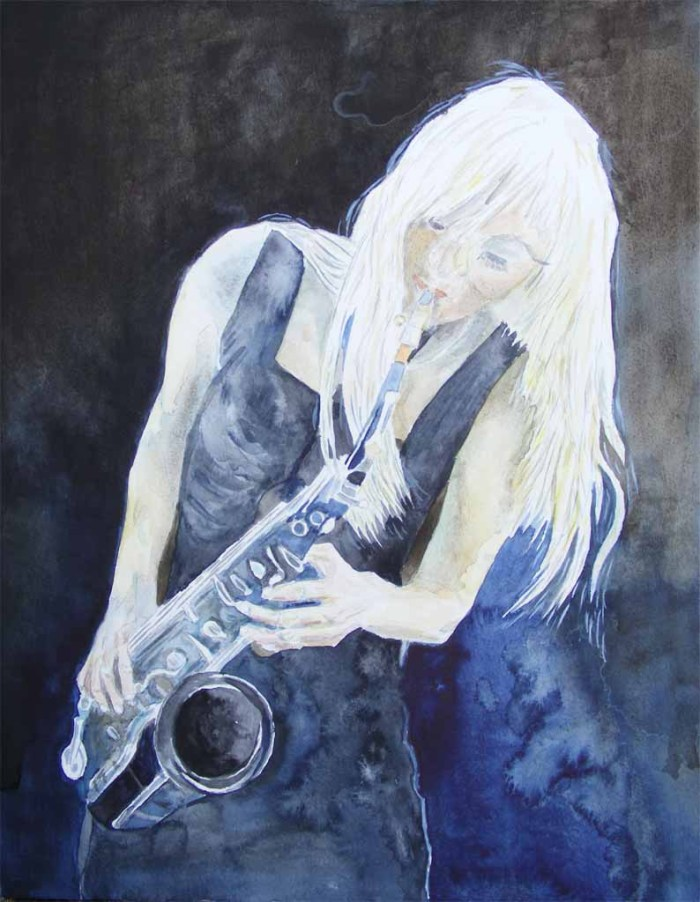 Jazz in blue - Aquarell von Frank Koebsch (c)