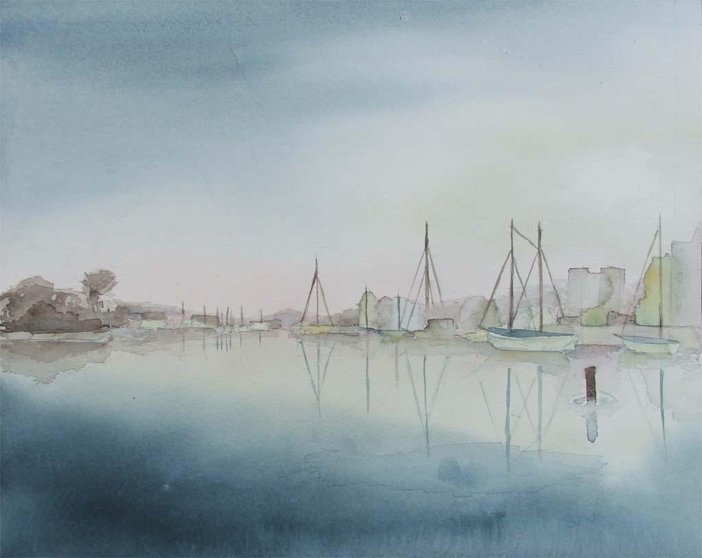 Morgenstimmung im Hafen 2 (c) Aquarell von Frank Koebsch