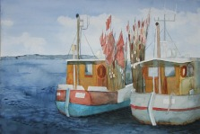 Ruhe auf den Kuttern (c) Aquarell von Frank Koebsch