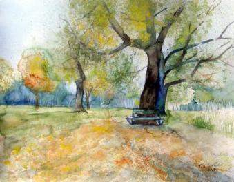 Sonniger Herbst (c) Aquarell von FRank Koebsch