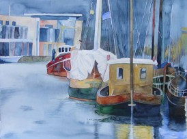 Alt und Neu im Hafen (c) Aquarell aus dem Museumshafen von Frank Koebsch