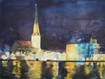 Hanse-Wahrzeichen bei Nacht (c) Aquarell von Frank Koebsch