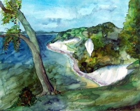 Kreidefelsen bei Sassnitz (c) Aquarell von FRank Koebsch