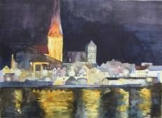 Rostocker Altstadt bei Nacht (c) Aquarell von Frank Koebsch