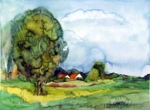 Weiden hinter Middelhagen (c) Aquarell von Frank Koebsch