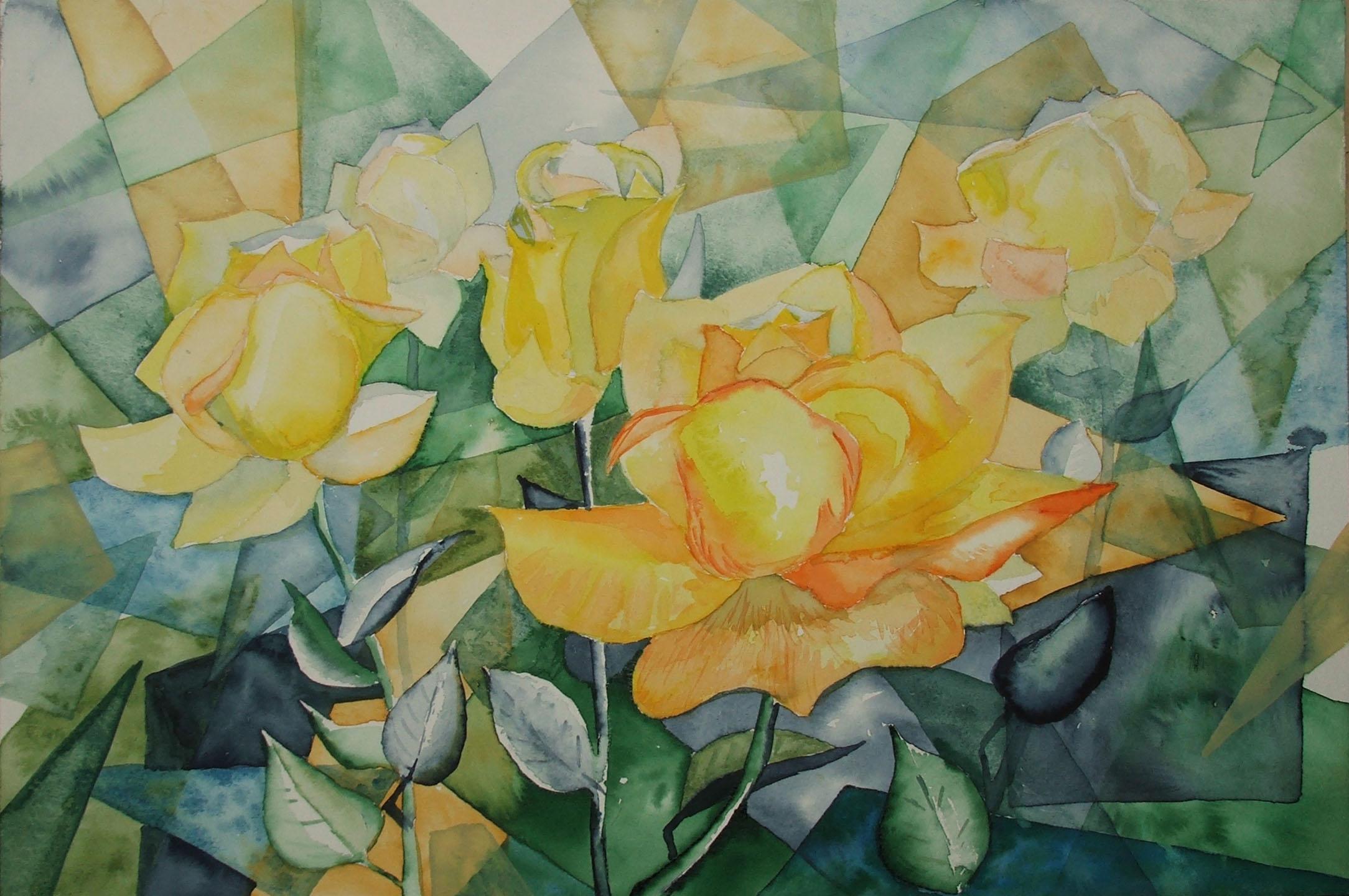 gelbe rosen bilder aquarelle vom meer mehr von frank koebsch. Black Bedroom Furniture Sets. Home Design Ideas