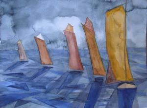 Geschwaderfahrt (c) Aquarell von Frank Koebsch