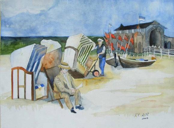 Strandkorbwärter (c) Aquarell von Frank Koebsch