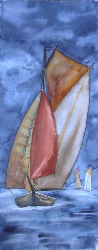 Voll unter Segeln (c) Aquarell von Frank Koebsch