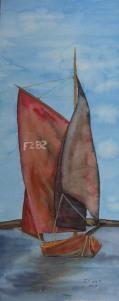 Zeese mit rotem Segel (c) Aquarell von Frank Koebsch