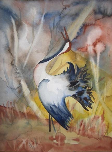 Kranich (c) Aquarell von Frank Koebsch