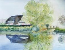 Ein schöner Urlaubsmorgen - Landhaus Seerose (c) Aquarell von FRank Koebsch
