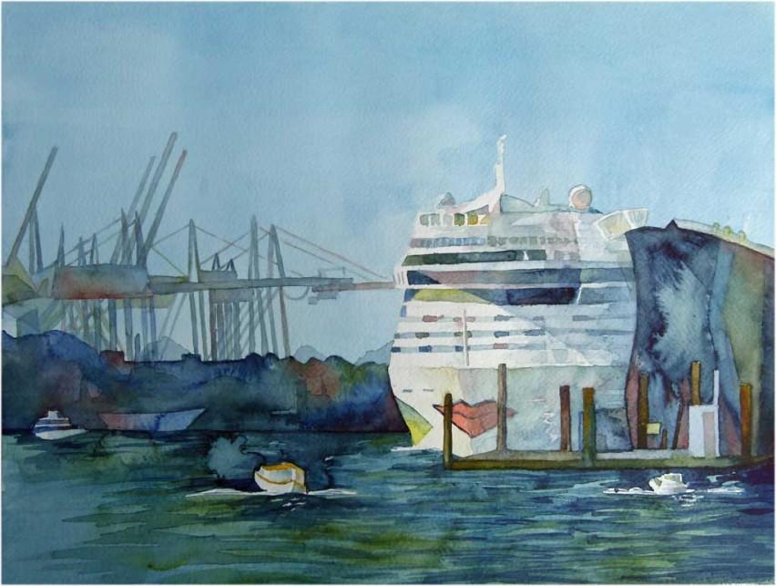 AIDA am Kreuzfahrt-Terminal Altona (c) Aquarell von Frank Koebsch
