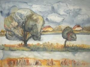 Boddenwiese im Herbst 2 (c) Aquarell von FRank Koebsch