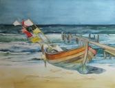 Boot am Strand (c) Aquarell von FRank Koebsch