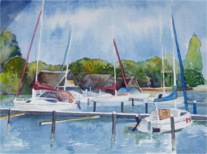 Boote am See (c) Aquarell von Frank Koebsch