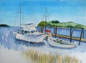 Boote im Hafen von Groß Zicker (c) Aquarell von Frank Koebsch
