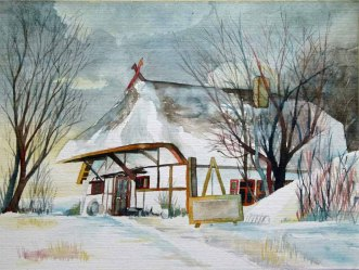 Das Dornenhaus im Winter (c) Aquarell aus Ahrenshoop von Frank Koebsch