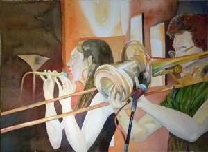 Ein Teil Nanorange (c) ein Jazz Aquarell von Frank Koebsch