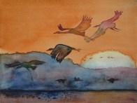 Im letzen Licht des Tages (c) ein Kranich Aquarell von Frank Koebsch