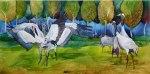 Machos - streitende Kraniche (c) Aquarell auf Leinwand von Frank Koebsch