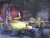 Schlepper im besonderen Licht (c) Aquarell vom Dampfschlepper Saturn von FRank Koebsch