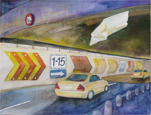 Taxi, Taxi ... (c) Aquarell von Frank Koebsch