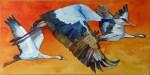 Ziel in Sicht (c) Ein Kranich Aquarell auf Leinwand von Frank Koebsch