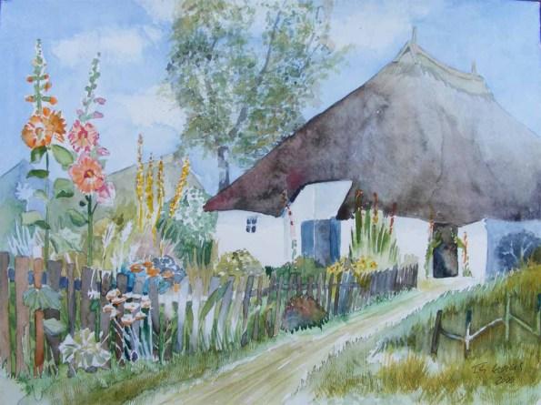 Garten vor dem Pfarrwitwenhaus (c) Aquarell von Frank Koebsch